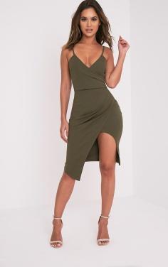 https://www.prettylittlething.com/lauriell-khaki-wrap-front-crepe-midi-dress.html
