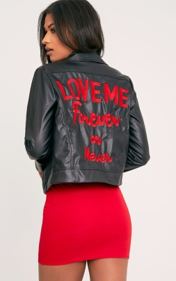 https://www.prettylittlething.com/love-me-forever-slogan-pu-biker-jacket.html