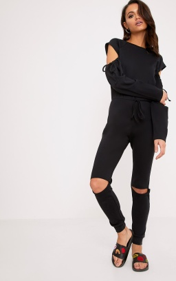 https://www.prettylittlething.com/lindsey-black-sweater-cold-shoulder-ripped-knee-jumpsuit.html