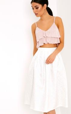 https://www.prettylittlething.com/gisella-white-jacquard-full-midi-skirt.html